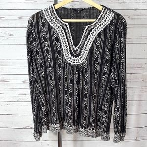 Lucky Brand black white embroider long sleeve top